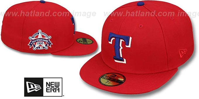 b0921641e42 Texas Rangers 1995 SIDE ALL-STAR-PATCH Fitted Hat by New Era