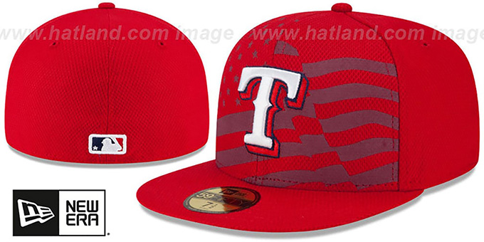 Rangers '2015 JULY 4TH STARS N STRIPES' Hat by New Era : pictured without stickers that these products are shipped with