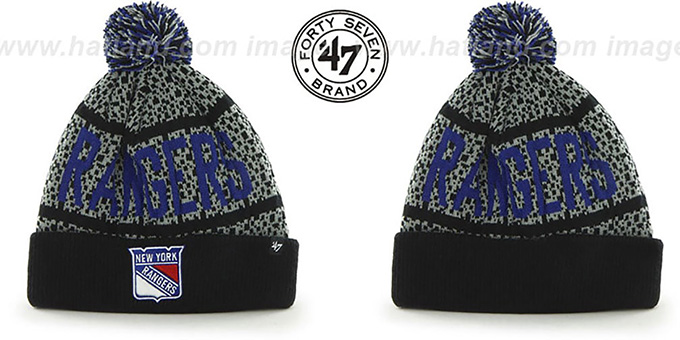 Rangers 'BEDROCK' Black-Grey Knit Beanie Hat by Twins 47 Brand : pictured without stickers that these products are shipped with