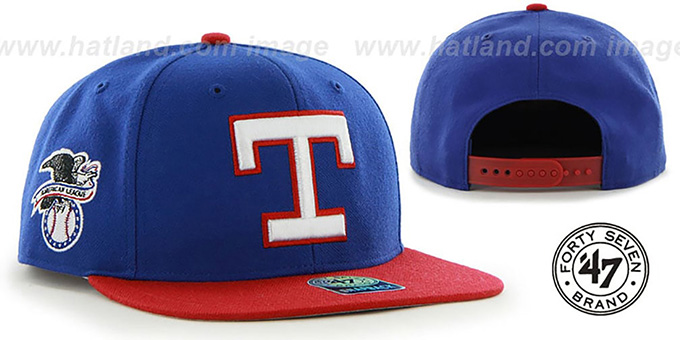 Rangers COOP 'SURE-SHOT SNAPBACK' Royal-Red Hat by Twins 47 Brand : pictured without stickers that these products are shipped with