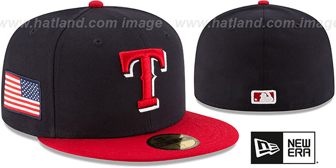 Rangers 'COUNTRY COLORS' Navy-Red Fitted Hat by New Era : pictured without stickers that these products are shipped with
