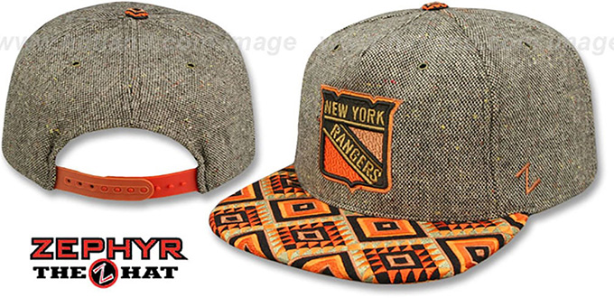 Rangers 'DREAM CATCHER SNAPBACK' Hat by Zephyr : pictured without stickers that these products are shipped with