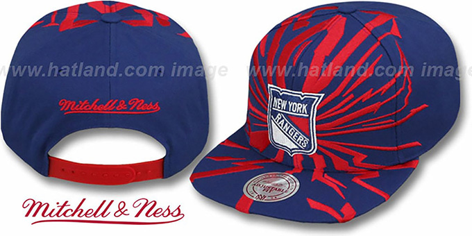 Rangers 'EARTHQUAKE SNAPBACK' Navy Hat by Mitchell & Ness : pictured without stickers that these products are shipped with