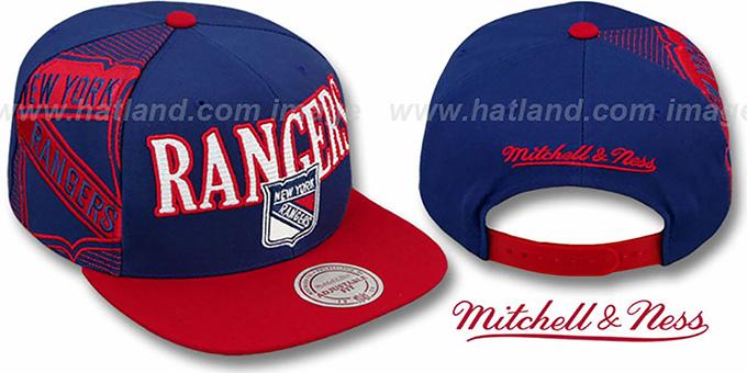 Rangers 'LASER-STITCH SNAPBACK' Navy-Red Hat by Mitchell and Ness : pictured without stickers that these products are shipped with