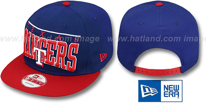 Rangers 'LE-ARCH SNAPBACK' Royal-Red Hat by New Era : pictured without stickers that these products are shipped with