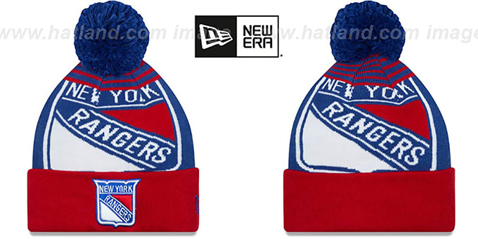 Rangers 'LOGO WHIZ' Royal-Red Knit Beanie Hat by New Era : pictured without stickers that these products are shipped with