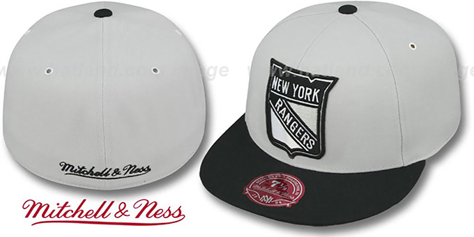 Rangers 'MONOCHROME XL-LOGO' Grey-Black Fitted Hat by Mitchell and Ness : pictured without stickers that these products are shipped with
