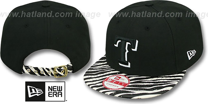 Rangers 'OSTRICH-ZEBRA STRAPBACK' Hat by New Era : pictured without stickers that these products are shipped with
