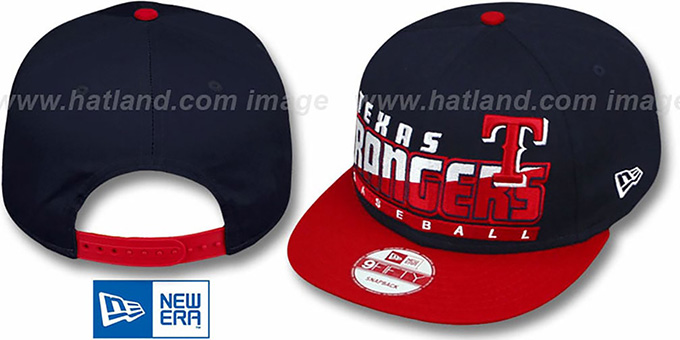 Rangers 'SLICE-N-DICE SNAPBACK' Navy-Red Hat by New Era : pictured without stickers that these products are shipped with