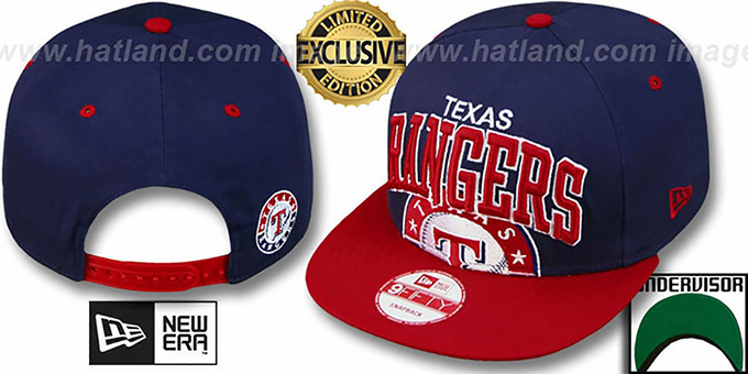 Rangers 'SUPER-LOGO ARCH SNAPBACK' Navy-Red Hat by New Era : pictured without stickers that these products are shipped with