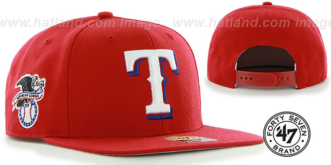 Rangers 'SURE-SHOT SNAPBACK' Red Hat by Twins 47 Brand : pictured without stickers that these products are shipped with