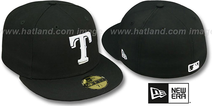 Rangers 'TEAM-BASIC' Black-White Fitted Hat by New Era : pictured without stickers that these products are shipped with
