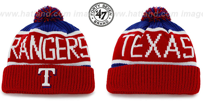 Rangers 'THE-CALGARY' Red-Royal Knit Beanie Hat by Twins 47 Brand : pictured without stickers that these products are shipped with