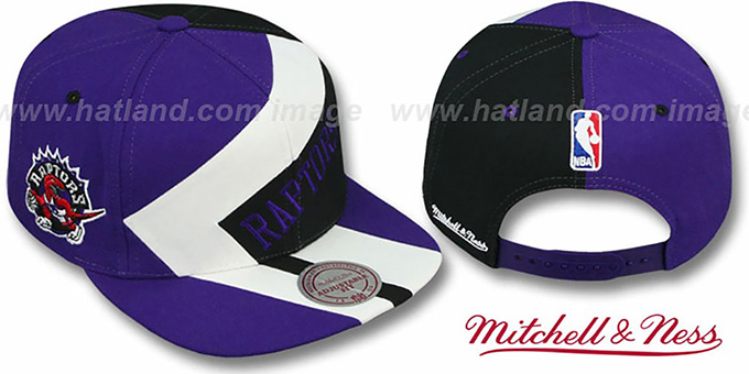 Raptors '1-ON-1 SNAPBACK' Purple-White-Black Hat by Mitchell & Ness : pictured without stickers that these products are shipped with