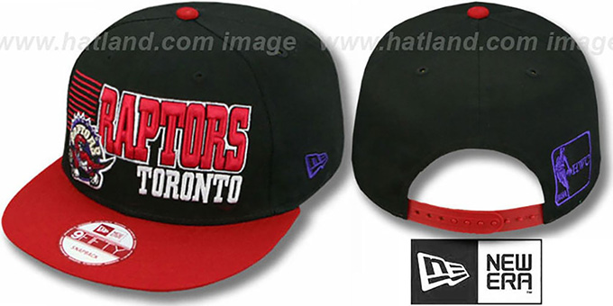 Raptors '2T BORDERLINE SNAPBACK' Black-Red Hat by New Era : pictured without stickers that these products are shipped with