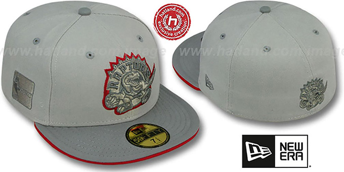 Raptors '2T HWC GREY-POP' Fitted Hat by New Era : pictured without stickers that these products are shipped with
