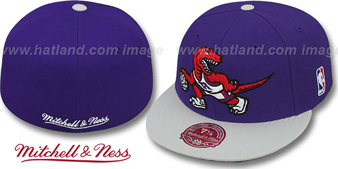 Raptors '2T XL-LOGO' Purple-Grey Fitted Hat by Mitchell & Ness : pictured without stickers that these products are shipped with