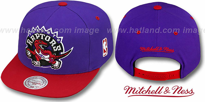 Raptors '2T XL-LOGO SNAPBACK' Purple-Red Adjustable Hat by Mitchell & Ness : pictured without stickers that these products are shipped with