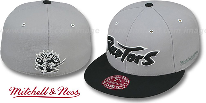 Raptors '2T XL-WORDMARK' Grey-Black Fitted Hat by Mitchell & Ness : pictured without stickers that these products are shipped with