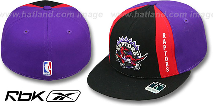 Raptors 'AJD THROWBACK PINWHEEL' Black-Purple Fitted Hat by Reebok : pictured without stickers that these products are shipped with