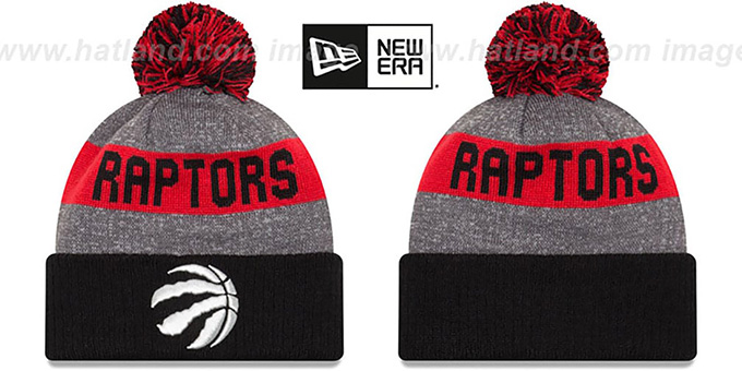 Raptors 'ARENA SPORT' Black-Red Knit Beanie Hat by New Era : pictured without stickers that these products are shipped with