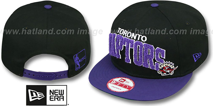 Raptors 'CHENILLE-ARCH SNAPBACK' Black-Purple Hat by New Era : pictured without stickers that these products are shipped with