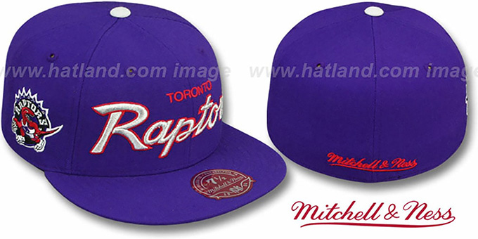 Raptors 'CLASSIC-SCRIPT' Purple Fitted Hat by Mitchell & Ness : pictured without stickers that these products are shipped with