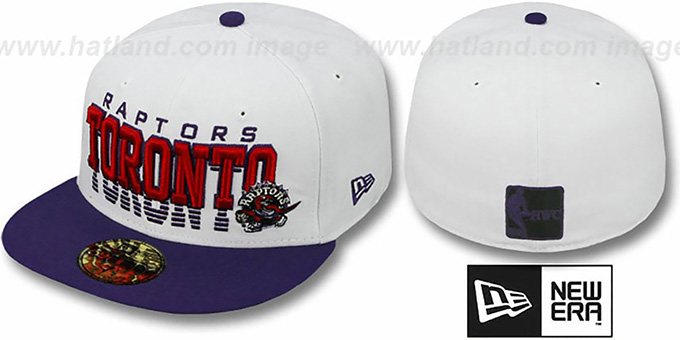 Raptors 'DISSOLVER' White-Purple Fitted Hat by New Era : pictured without stickers that these products are shipped with