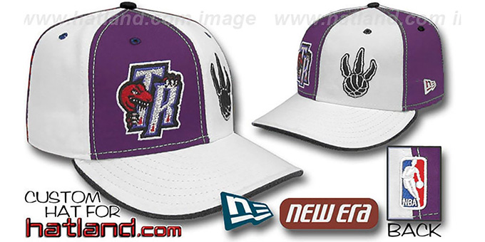 Raptors 'DOUBLE WHAMMY' Purple-White Fitted Hat : pictured without stickers that these products are shipped with