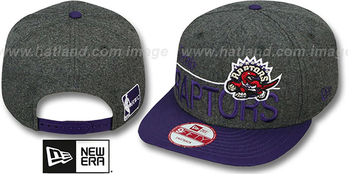 Raptors 'FLANNEL SNAPBACK' Grey-Purple Hat by New Era : pictured without stickers that these products are shipped with