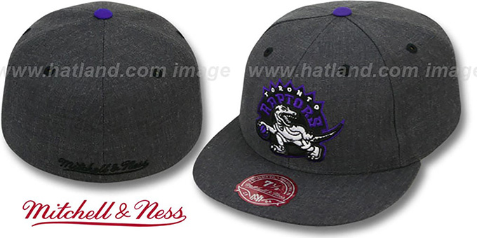 Raptors 'GREY HEDGEHOG' Fitted Hat by Mitchell & Ness : pictured without stickers that these products are shipped with