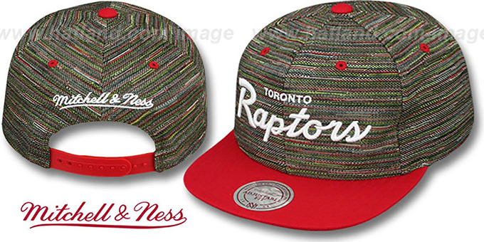 Raptors 'KNIT-WEAVE SNAPBACK' Multi-Red Hat by Mitchell and Ness : pictured without stickers that these products are shipped with