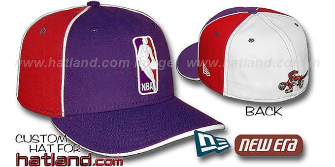 Raptors 'LOGOMAN-2' Purple-Red-White Fitted Hat by New Era : pictured without stickers that these products are shipped with