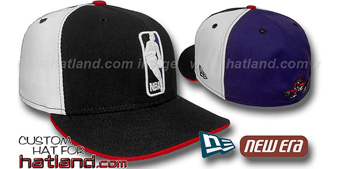 Raptors 'LOGOMAN' Black-White-Purple Fitted Hat by New Era : pictured without stickers that these products are shipped with
