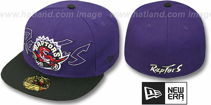 Raptors 'NEW MIXIN' Purple-Black Fitted Hat by New Era : pictured without stickers that these products are shipped with