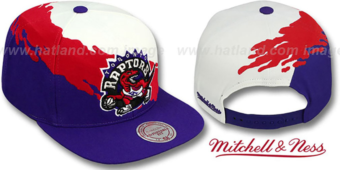 Raptors 'PAINTBRUSH SNAPBACK' White-Red-Purple Hat by Mitchell & Ness : pictured without stickers that these products are shipped with