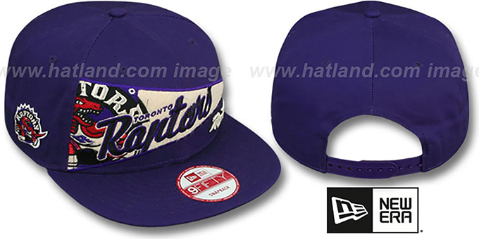 Raptors 'PENNANT SNAPBACK' Purple Hat by New Era : pictured without stickers that these products are shipped with