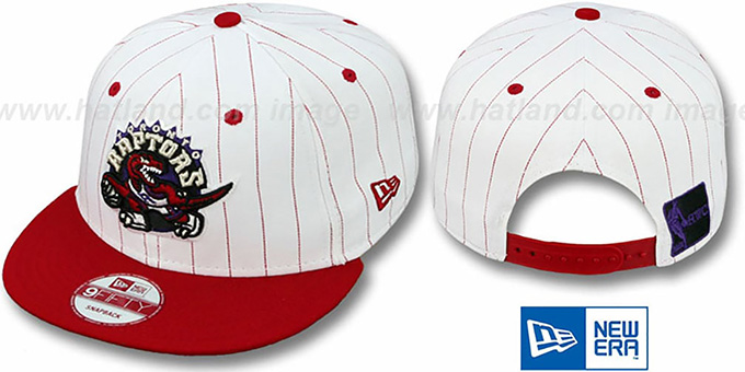 Raptors 'PINSTRIPE BITD SNAPBACK' White-Red Hat by New Era : pictured without stickers that these products are shipped with