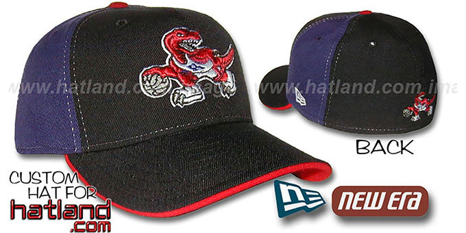 Raptors 'PINWHEEL' Black-Purple Fitted Hat by New Era : pictured without stickers that these products are shipped with