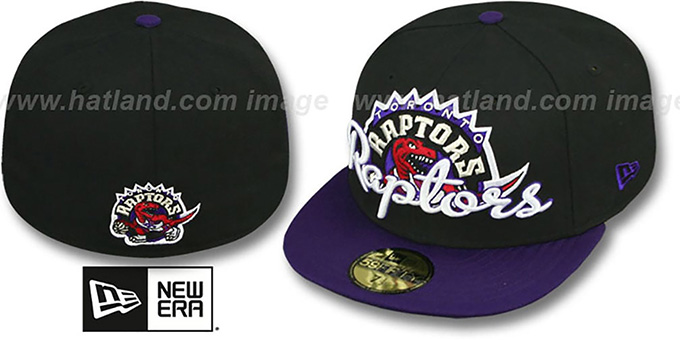 Raptors 'SCRIPT-PUNCH' Black-Purple Fitted Hat by New Era : pictured without stickers that these products are shipped with