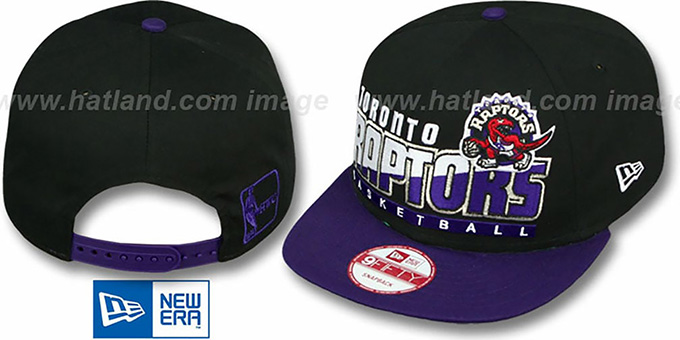 Raptors 'SLICE-N-DICE SNAPBACK' Black-Purple Hat by New Era : pictured without stickers that these products are shipped with