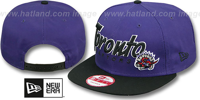 Raptors 'SNAP-IT-BACK SNAPBACK' Purple-Black Hat by New Era : pictured without stickers that these products are shipped with