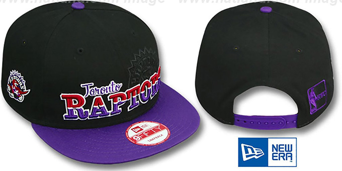 Raptors 'SPLIT-BLOCK SNAPBACK' Black-Purple Hat by New Era : pictured without stickers that these products are shipped with