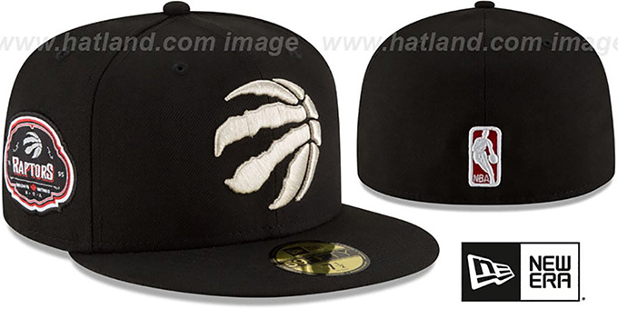 Raptors 'TEAM-SUPERB' Black Fitted Hat by New Era : pictured without stickers that these products are shipped with