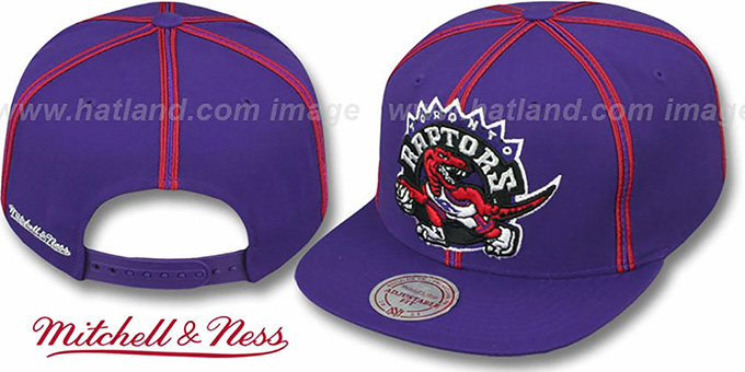 Raptors 'XL-LOGO SOUTACHE SNAPBACK' Purple Adjustable Hat by Mitchell & Ness