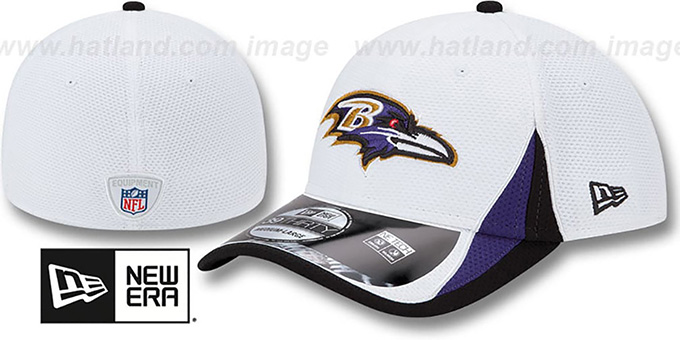 Ravens '2013 NFL TRAINING FLEX' White Hat by New Era : pictured without stickers that these products are shipped with