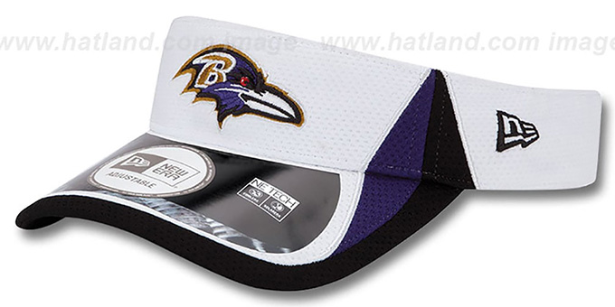 Ravens '2013 NFL TRAINING' White Visor by New Era : pictured without stickers that these products are shipped with