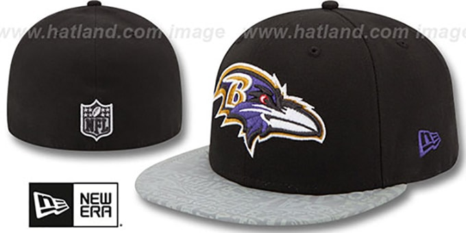 Ravens '2014 NFL DRAFT' Black Fitted Hat by New Era : pictured without stickers that these products are shipped with