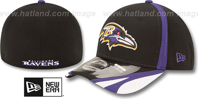 Ravens '2014 NFL TRAINING FLEX' Black Hat by New Era : pictured without stickers that these products are shipped with