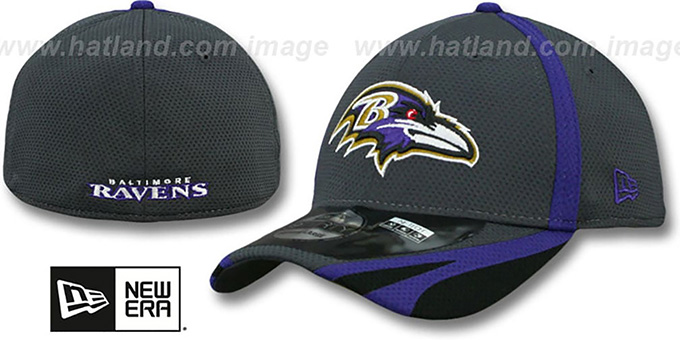 Ravens '2014 NFL TRAINING FLEX' Graphite Hat by New Era : pictured without stickers that these products are shipped with